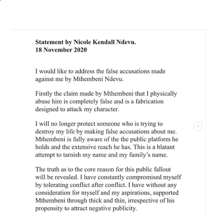 Emtee's estranged wife, Nicole Kendall Ndevu, has responded to the rapper allegations after accusing her that she abused him.